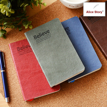 Vintage believe notebook A6 soft copy faux leather cover diary journal free shipping wholesale school stationery supplies