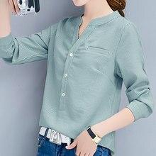 Shintimes – chemisier à rayures pour Femme, hauts ample à manches longues, en Vogue coréenne, collection automne 2020
