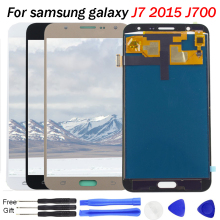 купить For Samsung Galaxy J7 LCD Display J7 2015 J700 J700F J700H Screen Touch Digitizer Assembly LCD Replacement Brightness Control недорого