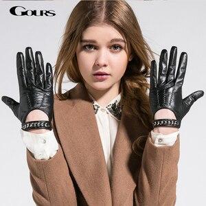 Image 1 - Gours 秋と冬の女性の革手袋ファッションブランド黒半袖駆動グローブ金属チェーンゴートスキンミトン GSL008