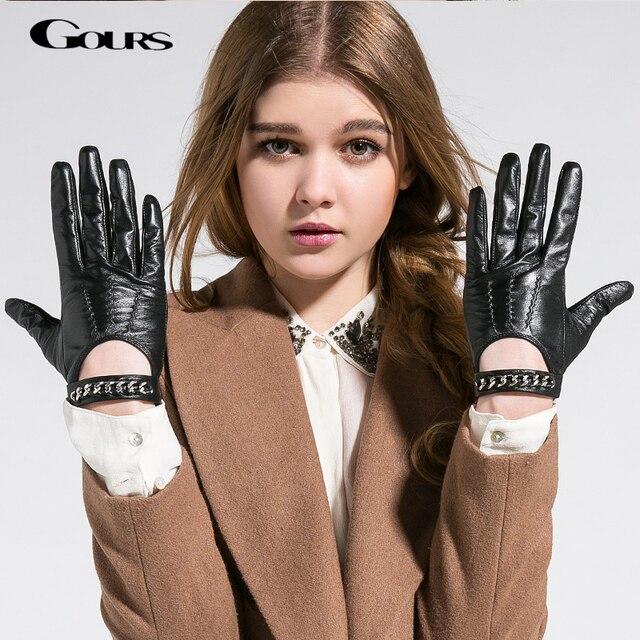 Gours 秋と冬の女性の革手袋ファッションブランド黒半袖駆動グローブ金属チェーンゴートスキンミトン GSL008
