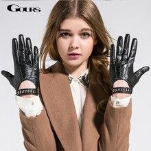 Gours outono e inverno mulheres luvas de couro genuíno marca moda preto curto condução luva de metal corrente goatskin mittens gsl008