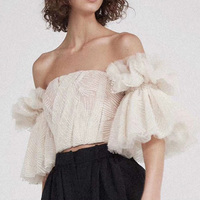 High Quality 2018 Summer One Shoulder Slash Sexy Women Top Off The Shoulder Mesh 1/2 Sleeve Blouse