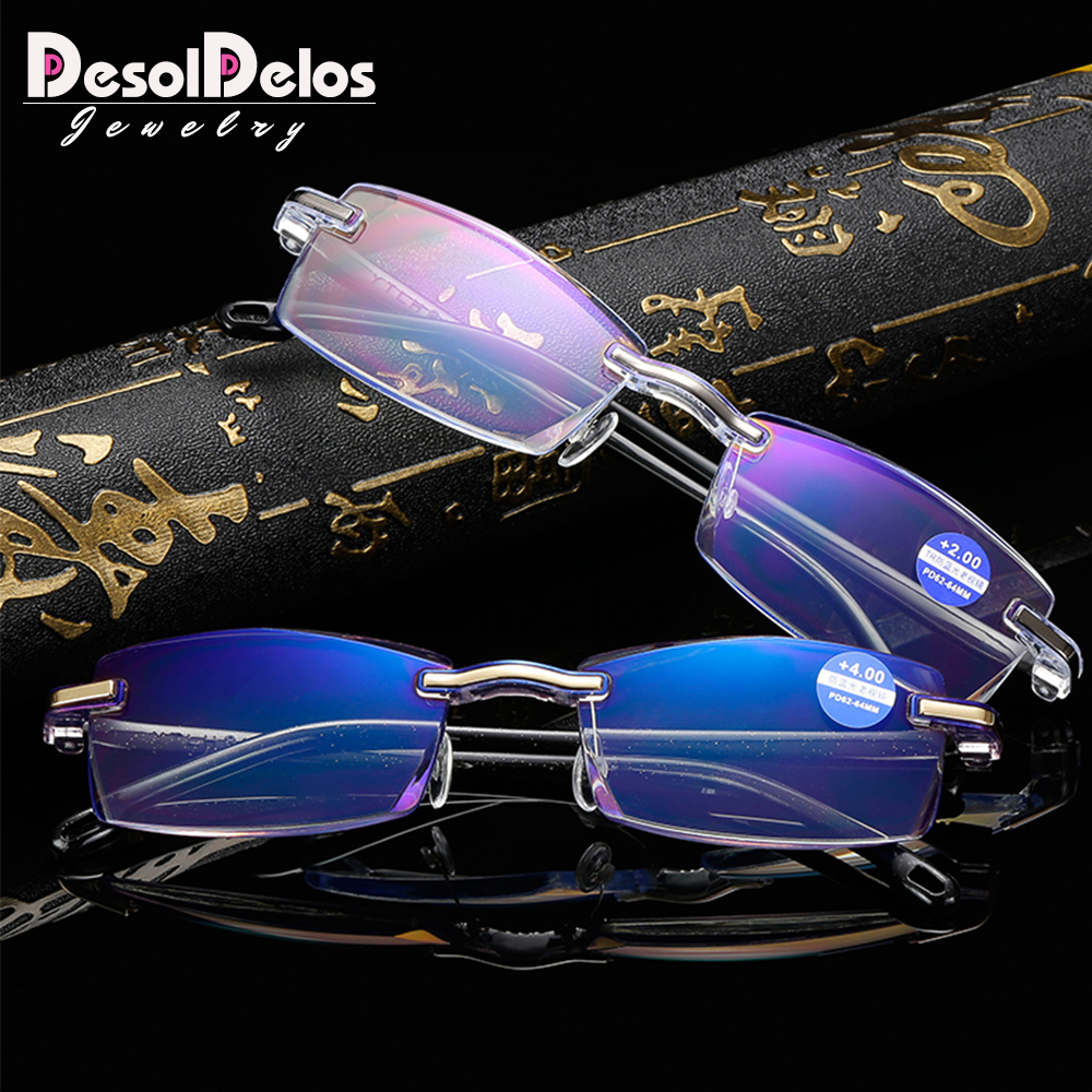 Classcial Rimless Reading Glasses Clear Lens Presbyopia Spectacles Eyewear Glasses +1.0+1.5+2.0+2.5+3.0+3.5+4.0 Unisex