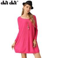 Chit Chitชนิดหลวมฤดูใบไม้ผลิถักผู้หญิงเสื้อยาวสไตล์สีทึบผู้หญิงถักแขนค้างคาวหญิงo-คอ