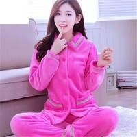 Autumn Winter Women Pajamas Coral Fleece Sleepwear Warm Bathrobe Nightgowns Kimono Pyjamas