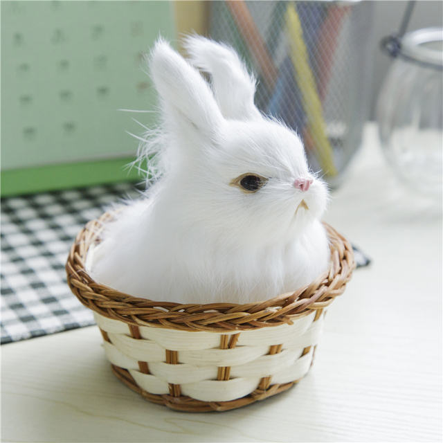 Short plush cute easter bunny simulation rabbit with basket furry short plush cute easter bunny simulation rabbit with basket furry squatting rabbit birthday gift decoration negle Gallery