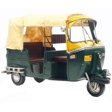Высокая имитация индийский трехколесный велосипед тук такси ручной работы металлический мотоцикл модель ручной работы игрушка для мальчиков Подарочная Коллекция