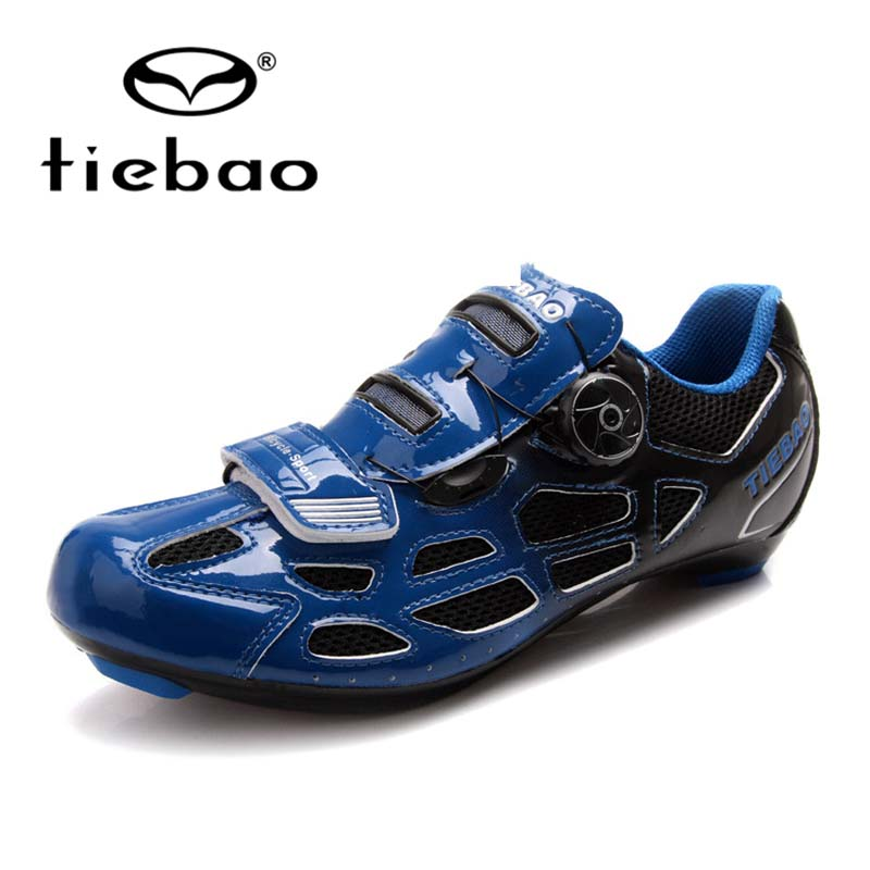 где купить  Tiebao Auto-lock Bicycle Sport Shoes Mens Road Cycling Shoes PU & Mesh Breathable Road Bike Shoes  TB16-B1259  по лучшей цене