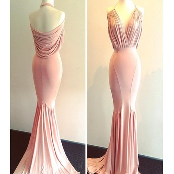 Cinderella Hlater Sleeveless Backless Sweep Train Mermaid Spandex Pleated Evening Dresses Sexy Long Pink Mermaid Evening Gown фото