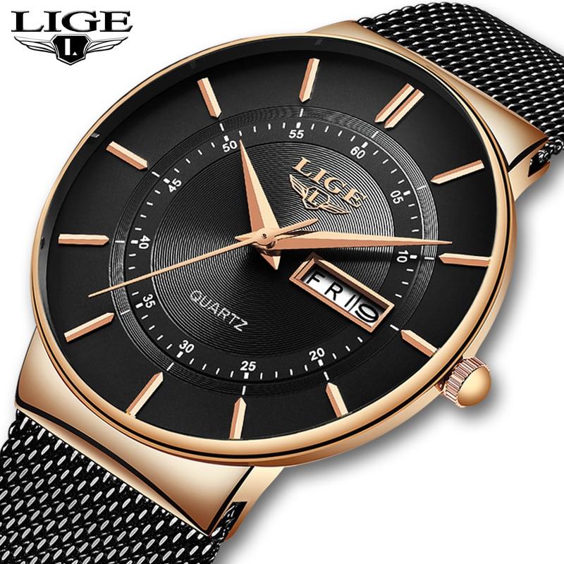 Relojes Hombre ใหม่ LIGE Ultra บางบุรุษนาฬิกาสแตนเลสกันน้ำนาฬิกาผู้ชายแบรนด์หรู Casual กีฬา Quartz นาฬิกา-ใน นาฬิกาควอตซ์ จาก นาฬิกาข้อมือ บน   1