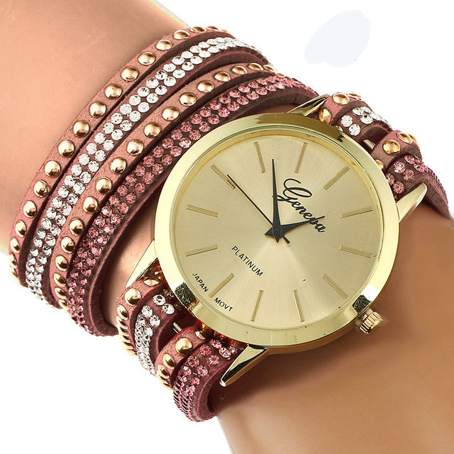 Gnova Platinum Women Geneva Wrap Bracelet Watch Double Crystal Large Strap Golden Dots Rhinestone Quartz Og