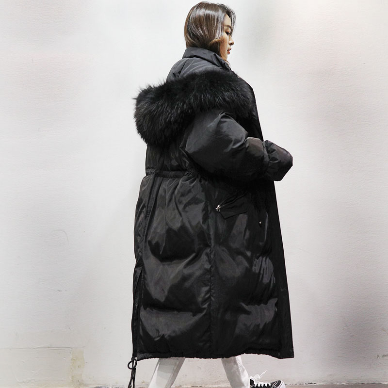 Detachable natural raccoon fur collar hooded down coat outerwear women adjustable waist sashes tails design down jacket