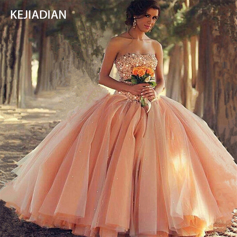 Crystals Quinceanera Dress for 15 year girl Ball Gown Sweetheart Ruffled Quinceanera Gown vestidos de 15