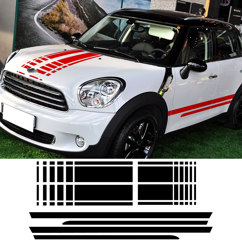 Bonnet Hood Trunk Rear Side Skirt Racing Stripe Body Kit Decal Car Stickers For Mini Cooper Countryman R60 2013-2016 Car Styling frp fiber glass car styling hood bonnet lip chin valance fin add on tuning parts for nissan skyline r32 gtr gts