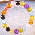 "Free Shipping Stretch 10mm Round Beads Natural Stone Multi-color Quartz Bracelet 8"" 1Pcs LH1736"