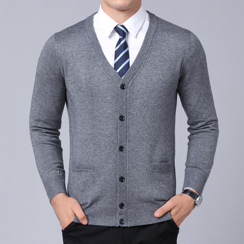 2020 New Fashion Brand Sweater For Mens Cardigan Coat V Neck Slim Fit Jumpers Knitwear Winter Korean Style Casual Mens Clothes