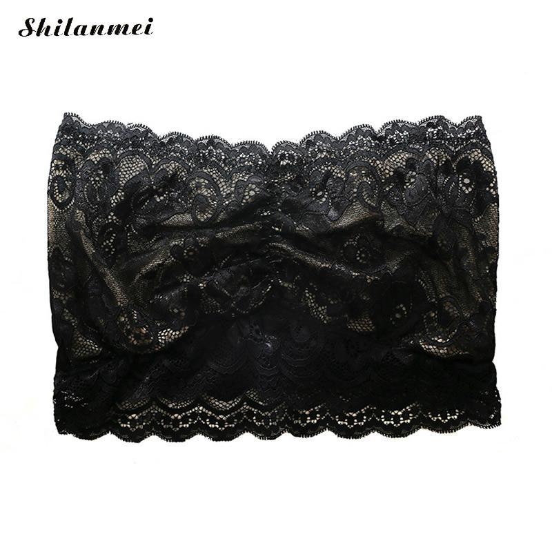 2d607de41f Black Lace Tube Top Insert Bras Strapless Bandeau Bra Sexy Intimate Women  Underwear Bras Sleeveless Bralette Crop Top For Ladies-in Tube Tops from  Underwear ...