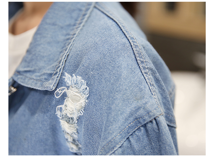 Women Frayed Denim Bomber Jacket Appliques Print Where Is My Mind Lady Vintage Elegant Outwear Autumn Fashion Coat 15