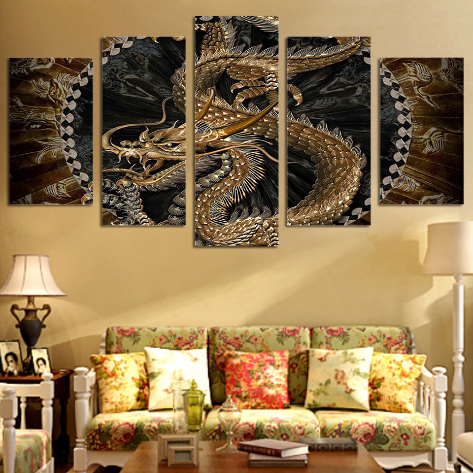 HD Printed 5 piece canvas art chinese dragon painting livingroom decor wall canvas art in Painting Calligraphy from Home Garden