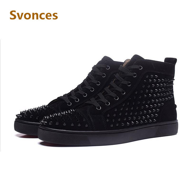 a5d67e00205a Fashion Flock Unisex Casual Shoes Mens Solid Rivets Red Black High Top  Bottom Flats Comfortable Ankle Lace-Up Boots Shoes Man