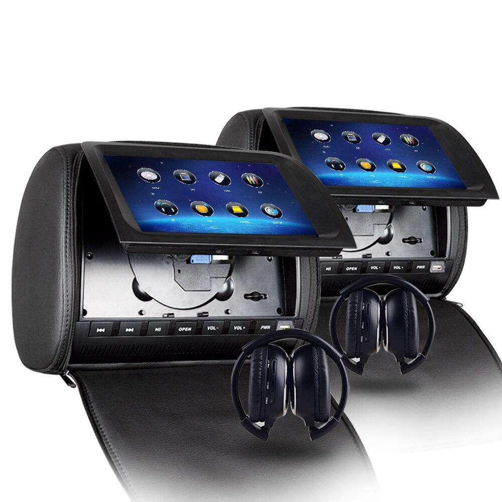 RoverOne 2x9 ''чехол на молнии сенсорный экран подголовник автомобиля мониторы Авто DVD видео тонкопленочный плеер с жк дисплеем USB/SD/игры/динамик +