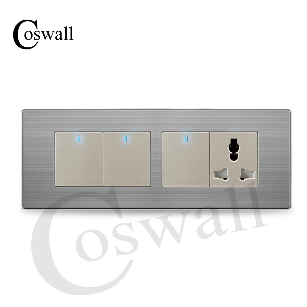 COSWALL 3 Gang 2 Way Wall Light Switch LED Indicator With 3 Hole ...