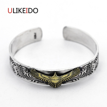 Pure 925 Sterling Silver Bangle Eagle Fashion Vintage Hand Chain For Men And Women Opening Jewelry Thai Silver Charm 475