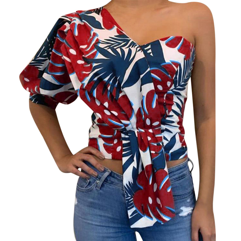 HTB1o9PVaeL2gK0jSZFmq6A7iXXaq - JAYCOSIN blouses Women Summer fashion sexy Printed One Shoulder Half Sleeve V-Neck Ruffles Tops Blouse poleron mujer 9715