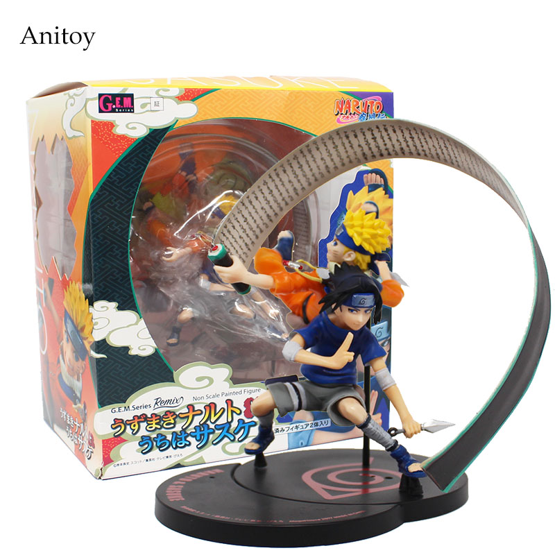 Naruto Shippuden Sasuke & Naruto Action Figure 1/8 scale painted PVC Figure Collectible Toy 15cm KT4077 neca planet of the apes gorilla soldier pvc action figure collectible toy 8 20cm