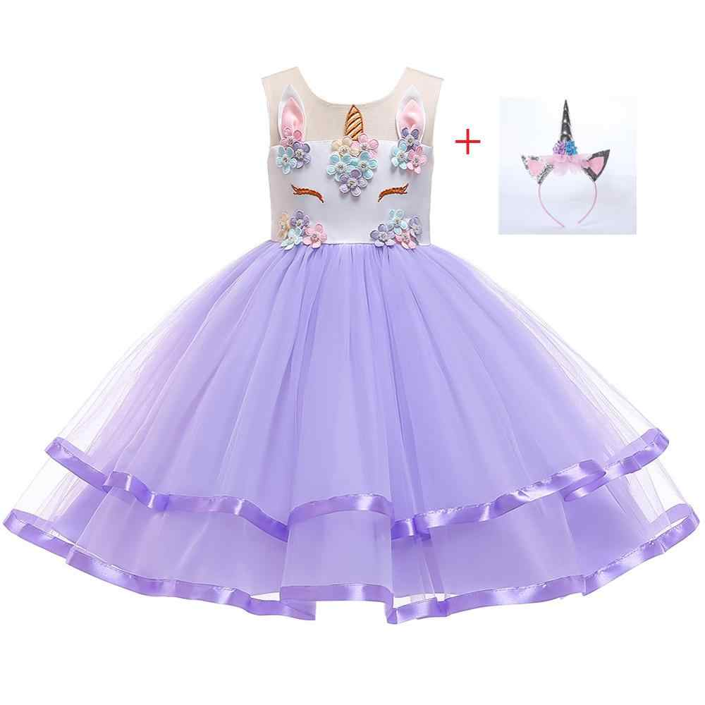 פרח בנות Unicorn תלבושות תחרות נסיכת ליל כל הקדושים המפלגה שמלת ילדי טוטו שמלות עם משלוח סרט