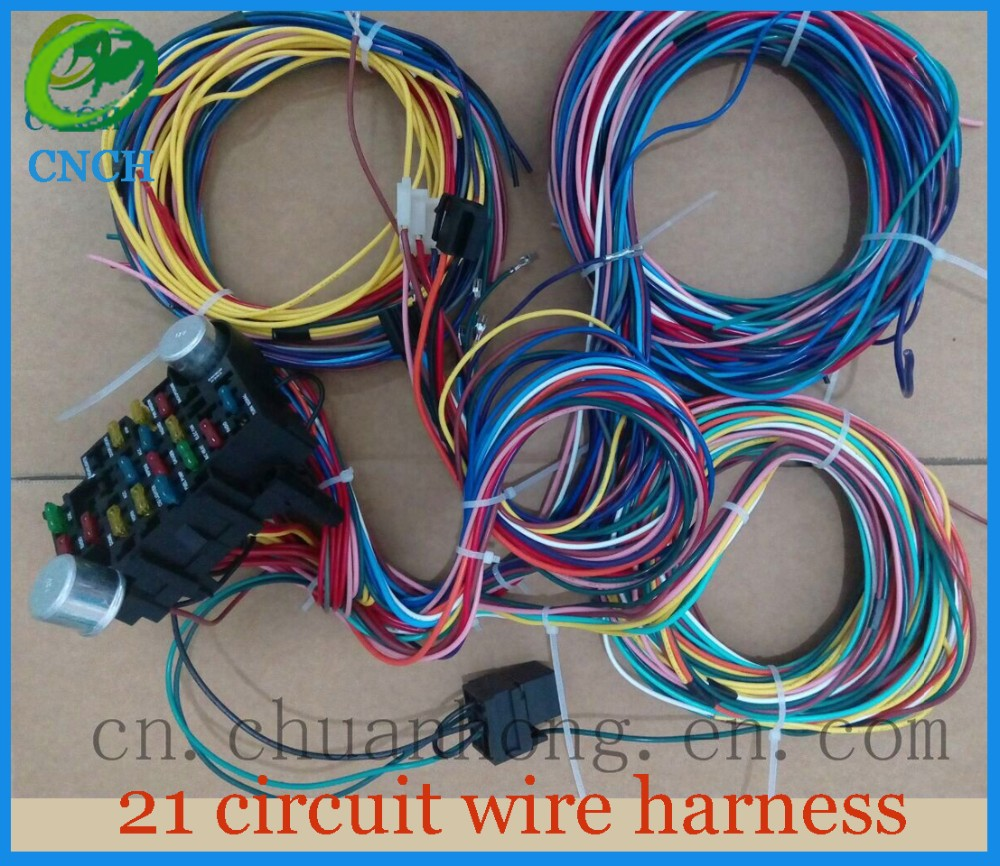 us $168 0 aliexpress com buy 21 circuit 17 fuses ez wiring harness hot rod universial wires from reliable fuse circuit suppliers on shop2185080 Ezgo Golf Cart Wiring Diagram