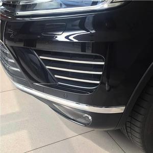 Image 1 - 6 sztuk Car Styling przedni zderzak samochodowy dolna kratka pokrywa wyścigi grille ze stali nierdzewnej naklejka na vw Volkswagen 2016 2018 Touareg