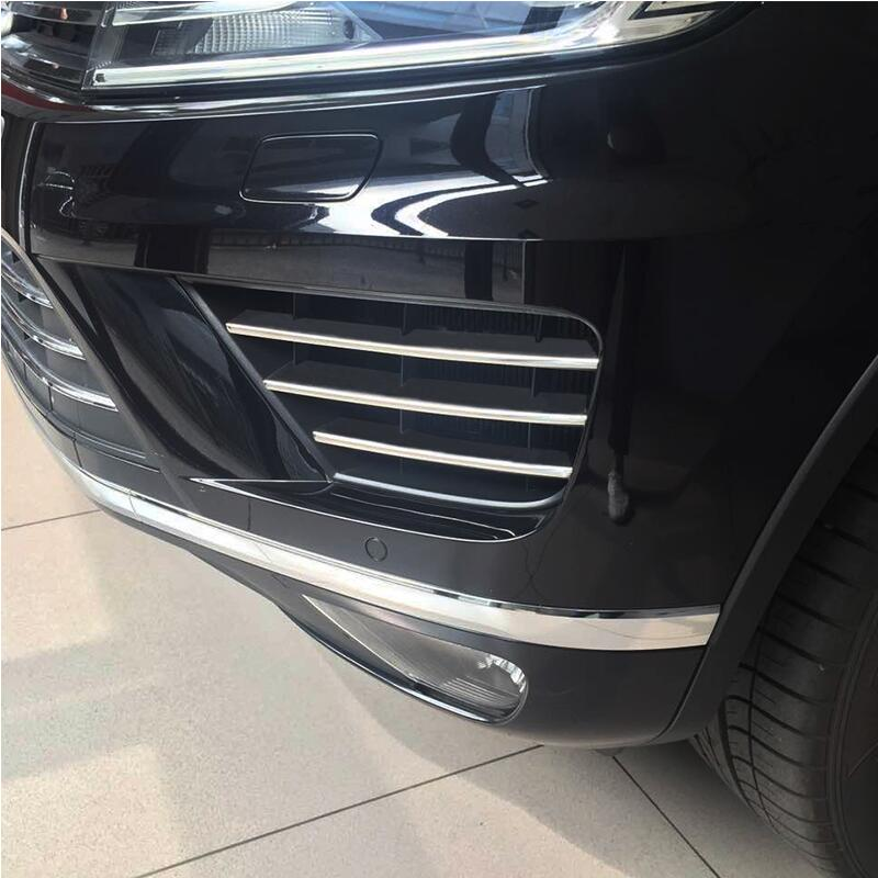 6pcs Car Styling Car Front Bumper Lower Grille Cover Racing Grills Stainless Steel Sticker For VW Volkswagen 2016 2018 Touareg