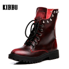 2017 Genuine Leather Short Boots Female Rivets Retro Student Boots for Lady Suede Martin Boots Women's Military Winds Work Shoes