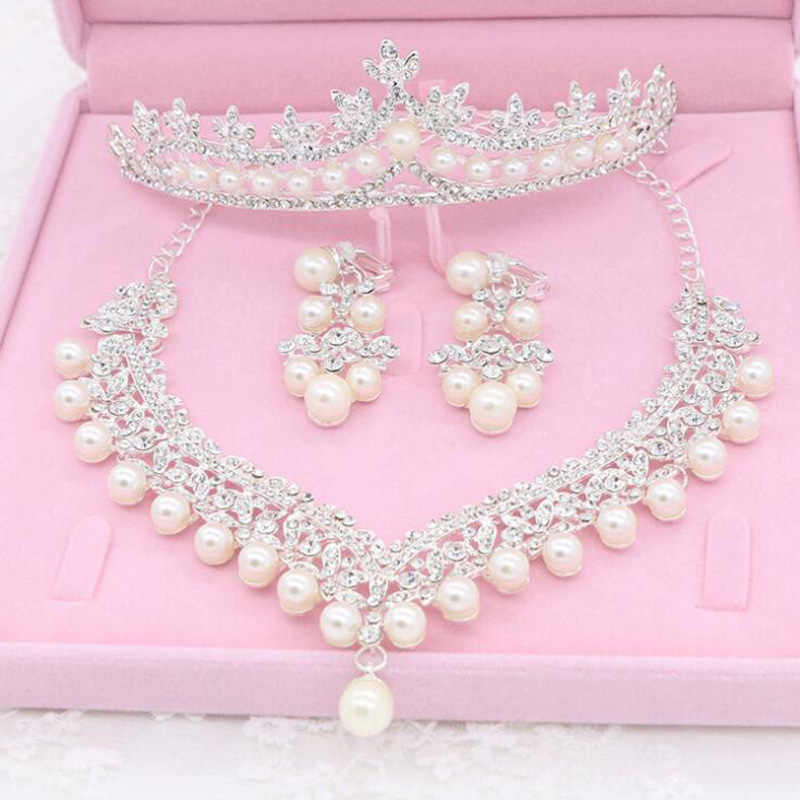 KMVEXO Bridal Jewelry Sets Wedding Crown Necklace With Earrings Bride Hair Ornaments Choker Necklace for Women Accessories Gift