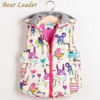 Children Clothing Winter Outerwear Coats Animal Graffiti Thick Princess Girls Vest Hooded Kids Jackets Baby Girl