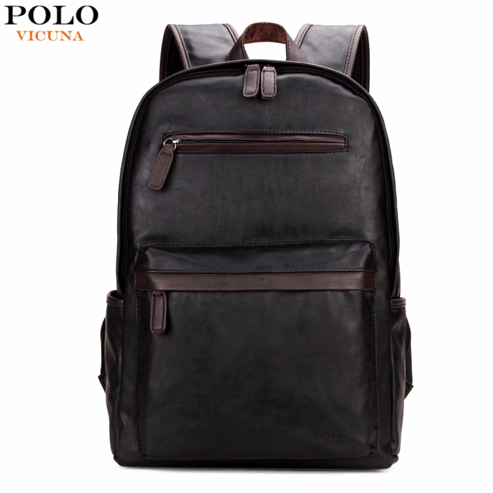 VICUNA POLO Brand Leather Mens Laptop Backpack Casual Daypacks For College High Capacity Trendy School Backpack Men Travel Bag цена