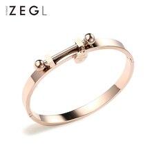 ZEGL fashion titanium steel bracelet 18k rose gold women