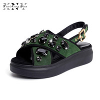 XiuNingYan Women Sandals Genuine Leather with Crystal Falt Platform Casual Shoes Sandalias Mujer Black Green Gray Big Size 32 43