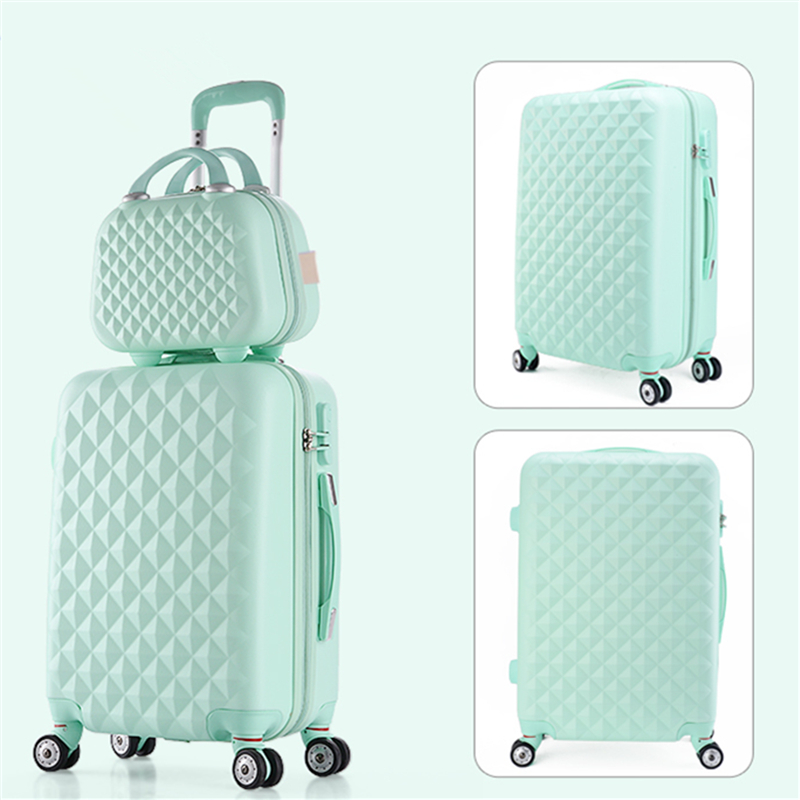 14 20 22 24 28inches(sold by 2 pieces set) abs+pc diamond hardside trolley luggage sets,blue,pink,green,red,purple luggage sets 20 20 pieces two colors purple