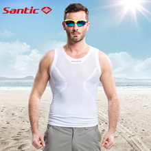 Santic Men Summer Cycling Jersey Swix White Reflective Cycling Vest Cycling Team Clothing Bike Vest Sport Running Vest MN15011W