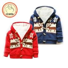 Ребенка в тепле мультфильм свитера рождество оленей кардиган куртки флисовой подкладкой пальто мальчики девочки верхней одежды осень зима