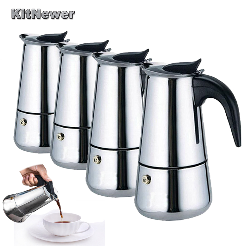 KITNEWER High Quality 100 200 300ml 450ml Stainless Steel Espresso Maker Kitchen Drip Kettle Tea Pot