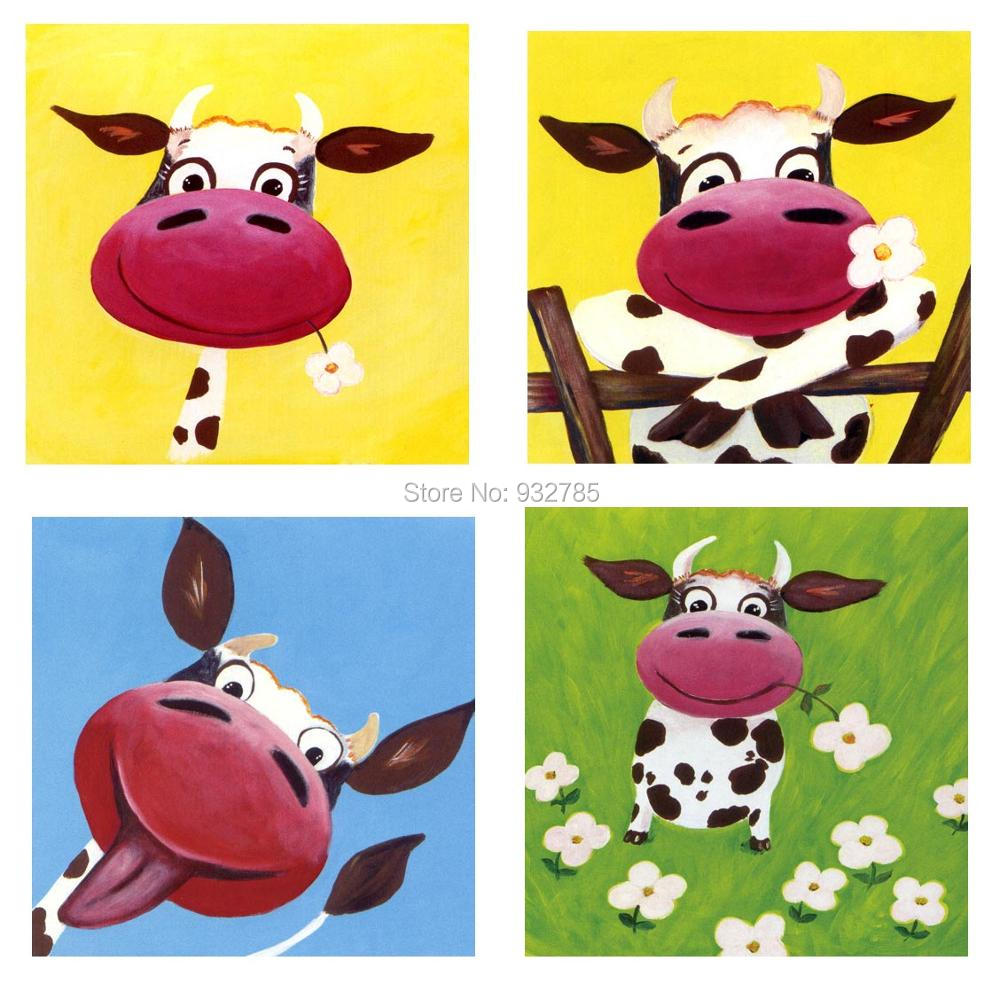 free shipping cute cartoon happy cow oil painting for kids canvas hand painted abstract animal home - Animal Painting For Kids