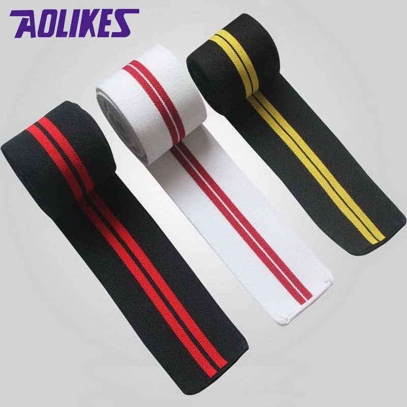 AOLIKES 1 Pair 2M*8CM elastic sports bands Weightlifting Training Leg Compression Calf Knee Support Wrap Strap Elastic Bandage