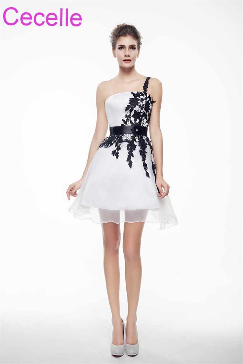 ee3b9bb80532e ... White and Black Short Cocktail Dresses 2019 One Shoulder Girls Semi  Formal Short Prom Party Dresses ...