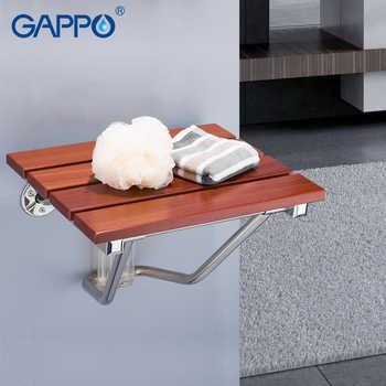 GAPPO wall mounted shower seats folding chair seat wooden bathroom chair seat bath shower chair shower folding seat