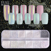 Full Beauty 12 Type/Box Dazzling Sandy Nail Glitter Dust Mermaid Effect AB Colorful Sugar Fine Powder Nail Art Sequins CHTY(China)