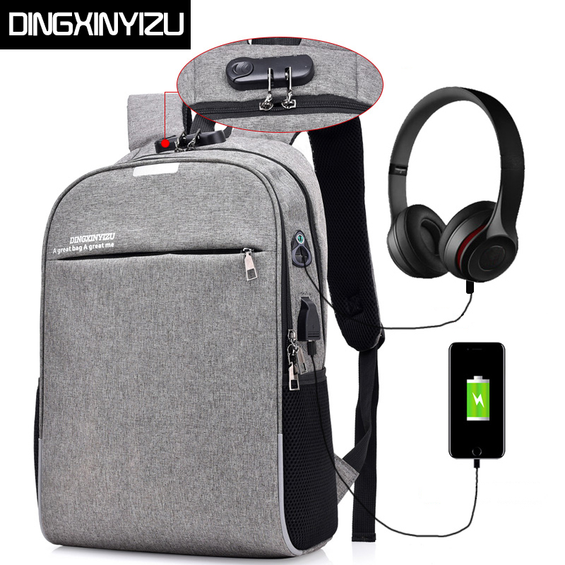 DINGXINYIZU Anti-theft Men Laptop Backpacks For 15.6 inch USB Design Backpacks Male Stundet Bags Casual Style Travel Bag Mochila sopamey usb charge men anti theft travel backpack 16 inch laptop backpacks for male waterproof school backpacks bags wholesale
